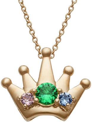 FINE JEWELRY Personalized Womens Simulated Multi Color Cubic Zirconia 14K Gold Over Silver Crown Pendant Necklace