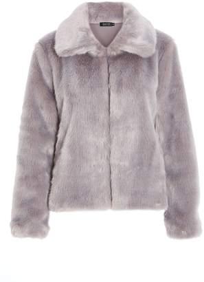 Quiz Grey Short Fur Collar Jacket