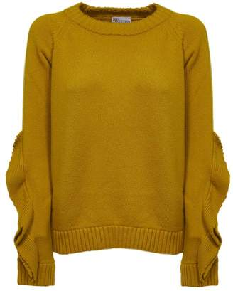 RED Valentino Ruffled Sleeve Chunky Knit Sweater