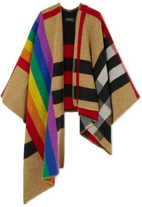 Burberry Checked Wool And Cashmere-blend Poncho - Sand