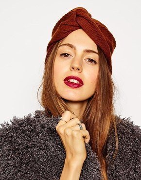 ASOS Fine Rib Knitted Turban Hat - Tobacco
