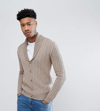 Asos DESIGN TALL Knitted Cable Knit Cardigan In Tan