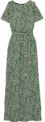 MICHAEL Michael Kors Cold-shoulder Printed Satin-jersey Maxi Dress - Green