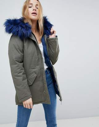 Brave Soul Mid Reversible Parka With Faux Fur Trim Hood