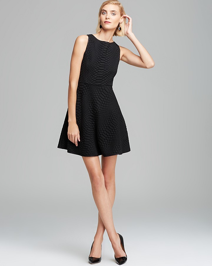 Catherine Malandrino Dress - Aimee Quilted Sleeveless Fit & Flare with Piping