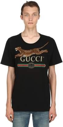 Gucci Leopard & Logo Cotton Jersey T-Shirt
