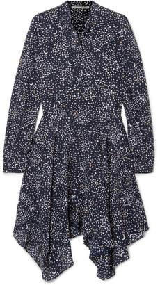 Stella McCartney Printed Silk Crepe De Chine Dress - Navy