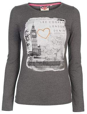 Lee Cooper Womens Long Sleeve T Shirt Top Crew Neck Lightweight Print