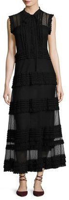 RED Valentino Sleeveless Point d'Esprit & Lace Ribbon Maxi Dress, Black $1,295 thestylecure.com