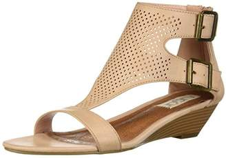 Sugar Womens' Wigout Demi Wedge T-Bar Open Toe Buckle Sandal