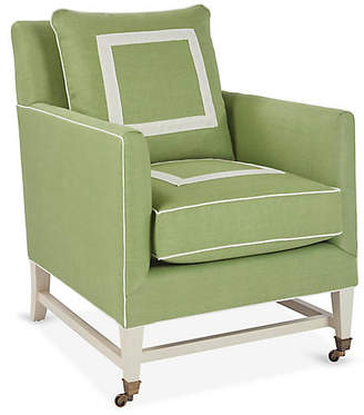 Brentwood Club Chair - Green/Ivory - Mark D. Sikes