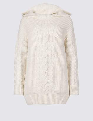 Marks and Spencer Hooded Cable Knit Jumper