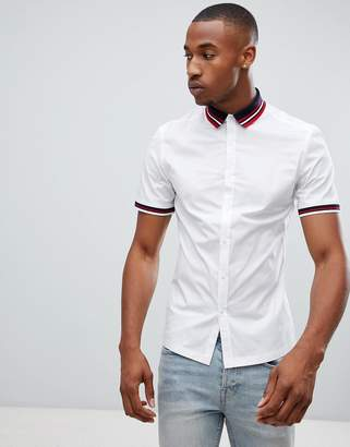 Asos Design DESIGN skinny shirt in white with ribbed collar & cuff