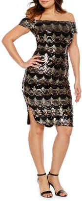 50c1467aca PREMIER AMOUR Premier Amour Short Sleeve Off The Shoulder Velvet Sequin  Sheath Dress