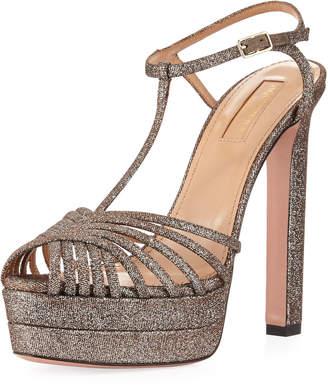 Aquazzura Moonlight Metallic Platform Sandals