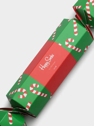 Happy Socks Candy Cane Cracker 2-Pair Sock Set in Green Red