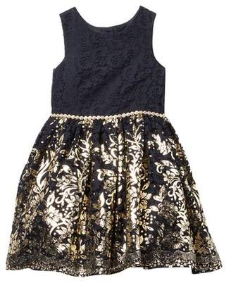 Laura Ashley Foil Printed Lace Dress (Little Girls)
