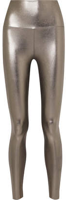 Norma Kamali Striped Metallic Stretch Leggings - Silver