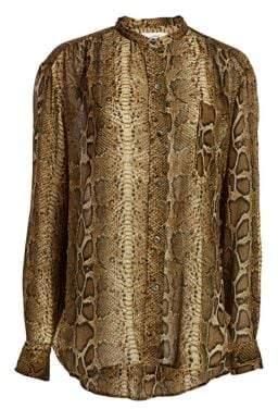 Etoile Isabel Marant Jaws Python Print Silk Blouse