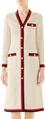 Gucci Ribbon Trim Tweed Dress