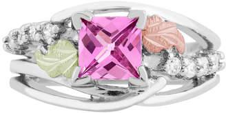 LANDSTROM'S BLACK HILLS GOLD Landstroms Black Hills Gold Lab Created Pink Sapphire Sterling Silver Cocktail Ring