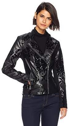 Calvin Klein Women's Embossed Faux Leather Moto Jacket