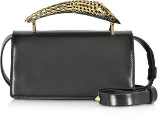 Maissa Black Glossy Leather Mini Shoulder Bag w/Gold Brass Mini Horn
