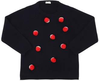 Il Gufo Pompoms Wool Knit Sweater