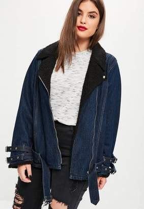 Missguided Plus Size Navy Denim Borg Collar Aviator Jacket