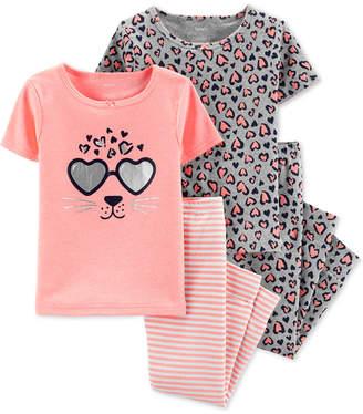 Carter's Carter Baby Girls 4-Pc. Leopard-Graphic Pajamas