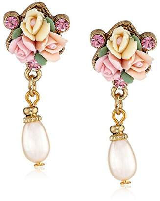 1928 Jewelry Gold-Tone Crystal Porcelain Rose Simulated Pearl Drop Earrings