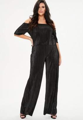 Missguided Plus Size Black Plisse Bardot Jumpsuit, Black