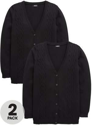 Very Girls 2 Pack Longline Cable Knit School Cardigans