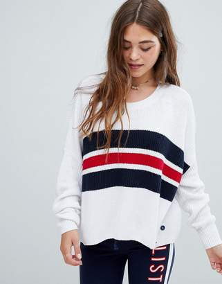 Hollister lightweight sweater with color block chest stripe