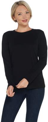 Isaac Mizrahi Live! Essentials Pima Cotton Crew Neck Knit Top