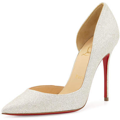 Christian Louboutin  Christian Louboutin Iriza Glittered Half-d'Orsay Red Sole Pump, Ivory/Light Gold