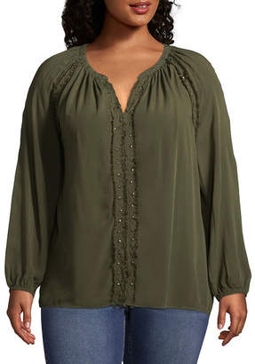 A.N.A Long Sleeve V Neck Woven Bohemian Blouse