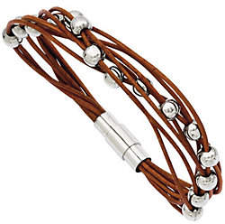 "Steel by Design Stainless Steel 7-1/2"" Brown Leather Bead Brace"