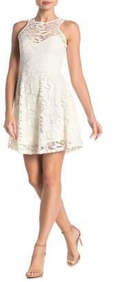 Love, Fire Sleeveless Lace Skater Dress
