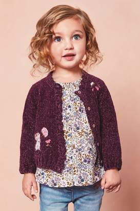Next Girls Berry Mouse Embroidered Cardigan (3mths-7yrs) - Purple