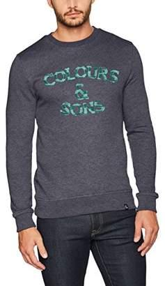 Colours&Sons Men's Logo-Bouclé Crewneck Sweatshirt,Large
