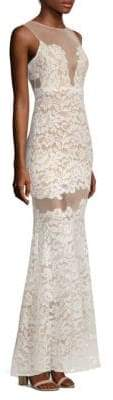 BCBGMAXAZRIA Rayna Sleeveless Floral Lace Gown