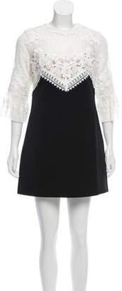 Self-Portrait Lace-Accented Mini Dress