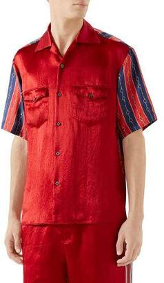 28dcd6eef8f0 Gucci Men's Silk-Front Chain Striped Short-Sleeve Shirt