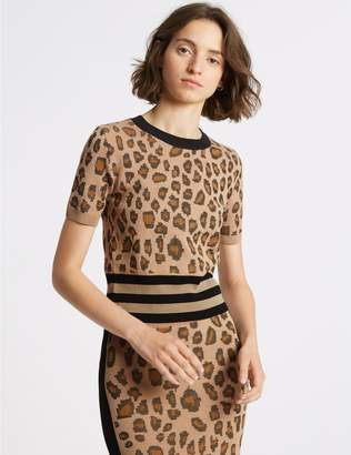 Marks and Spencer Animal Print Round Neck Short Sleeve Jumper