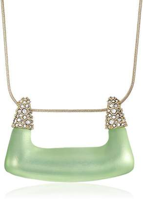 Alexis Bittar Womens Crystal Encrusted Abstract Buckle Shape Pendant Necklace