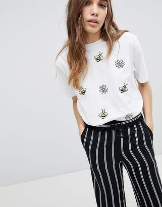 Monki Embroidered Bees and Flowers T-Shirt