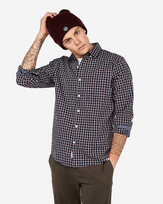 Express Classic Checked Plaid Button-Down Shirt