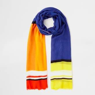 River Island Womens Blue bright multi colour block scarf