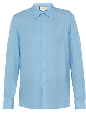 Gucci Gg Supreme Print Silk Crepe Shirt - Mens - Blue